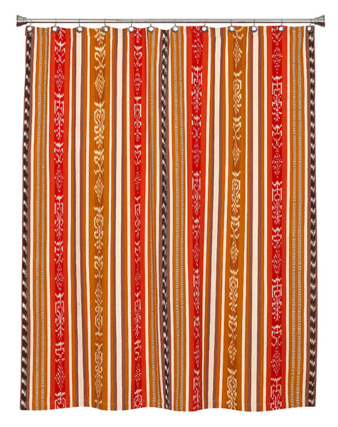 Mustard/Red Ikat Shower Curtain SC03