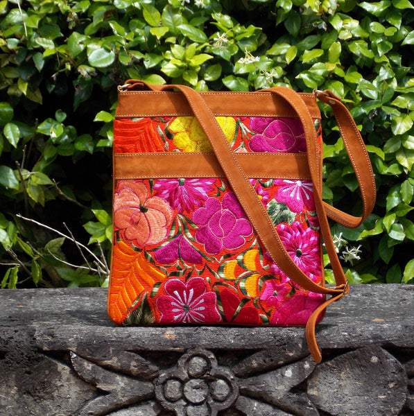 Flores Orange Messenger Bag MBF13