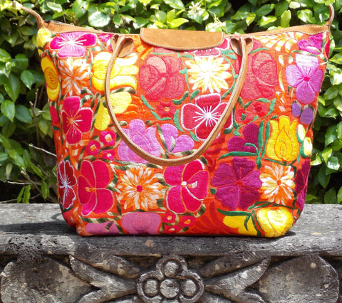 Flores Orange Tote TBF13