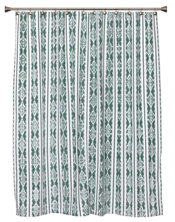 Green White Ikat Shower Curtain SC15