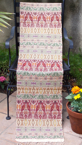Cream/Burgundy/Green Peacock Table Runner RBM90