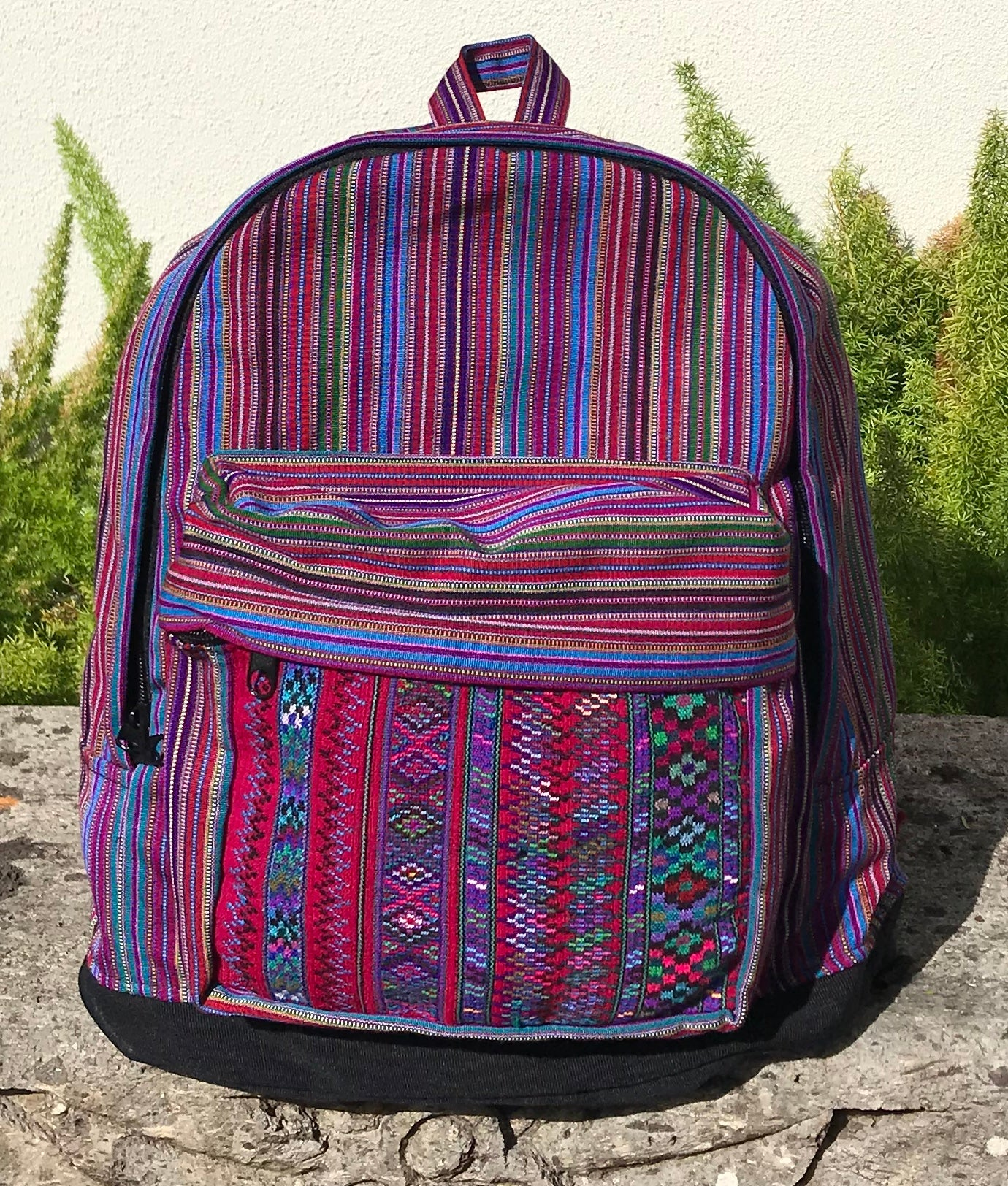 Mari Burgundy Stripe and Geometric Backpack BPG1