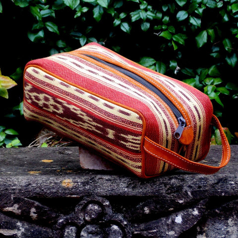 Brick and Cream Ikat Dopp Kit DK02