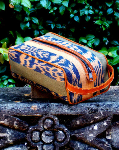 Navy and Olive Ikat Dopp Kit DK04