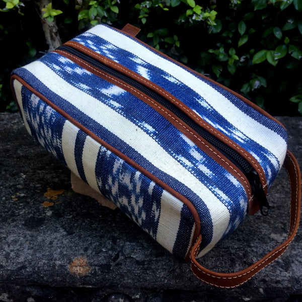 Blue and Cream Ikat Dopp Kit DK05