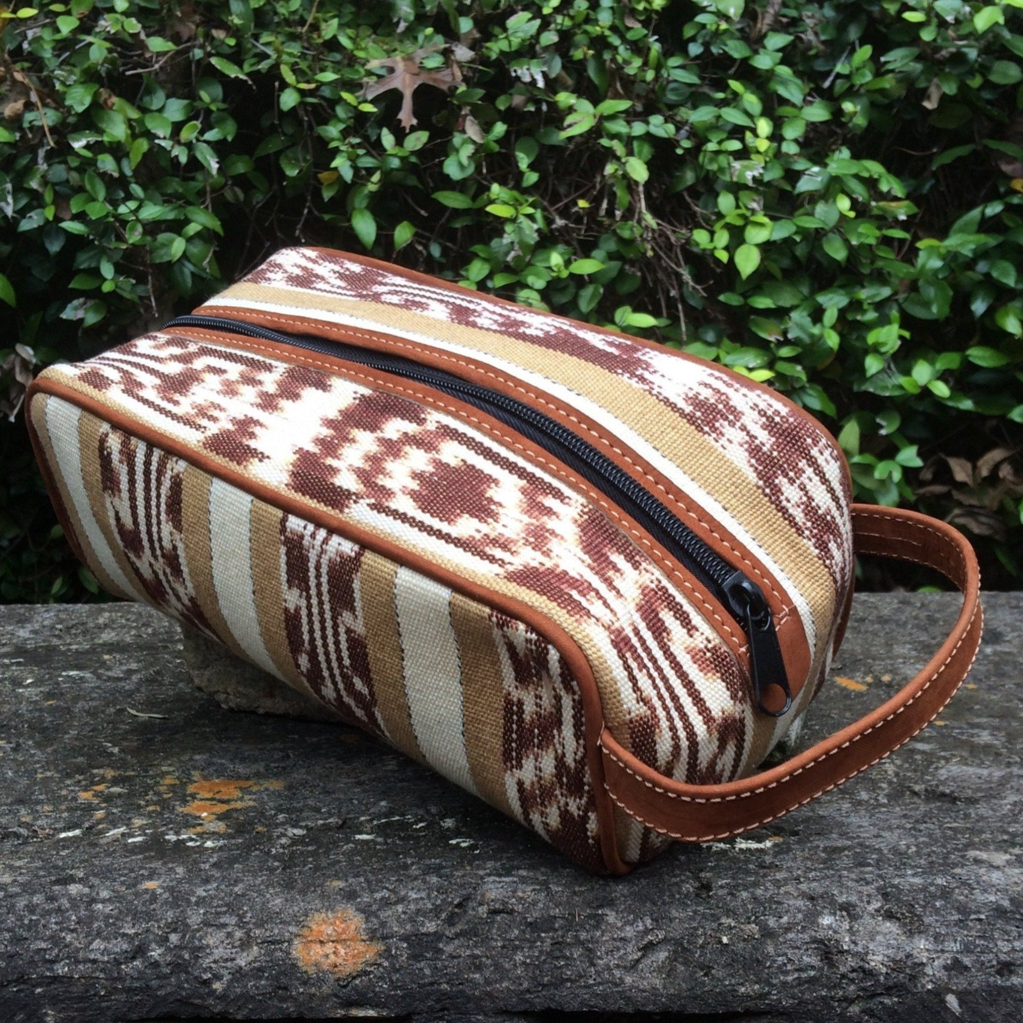 Coffee and Cream Ikat Guatemalan Dopp Kit DK06