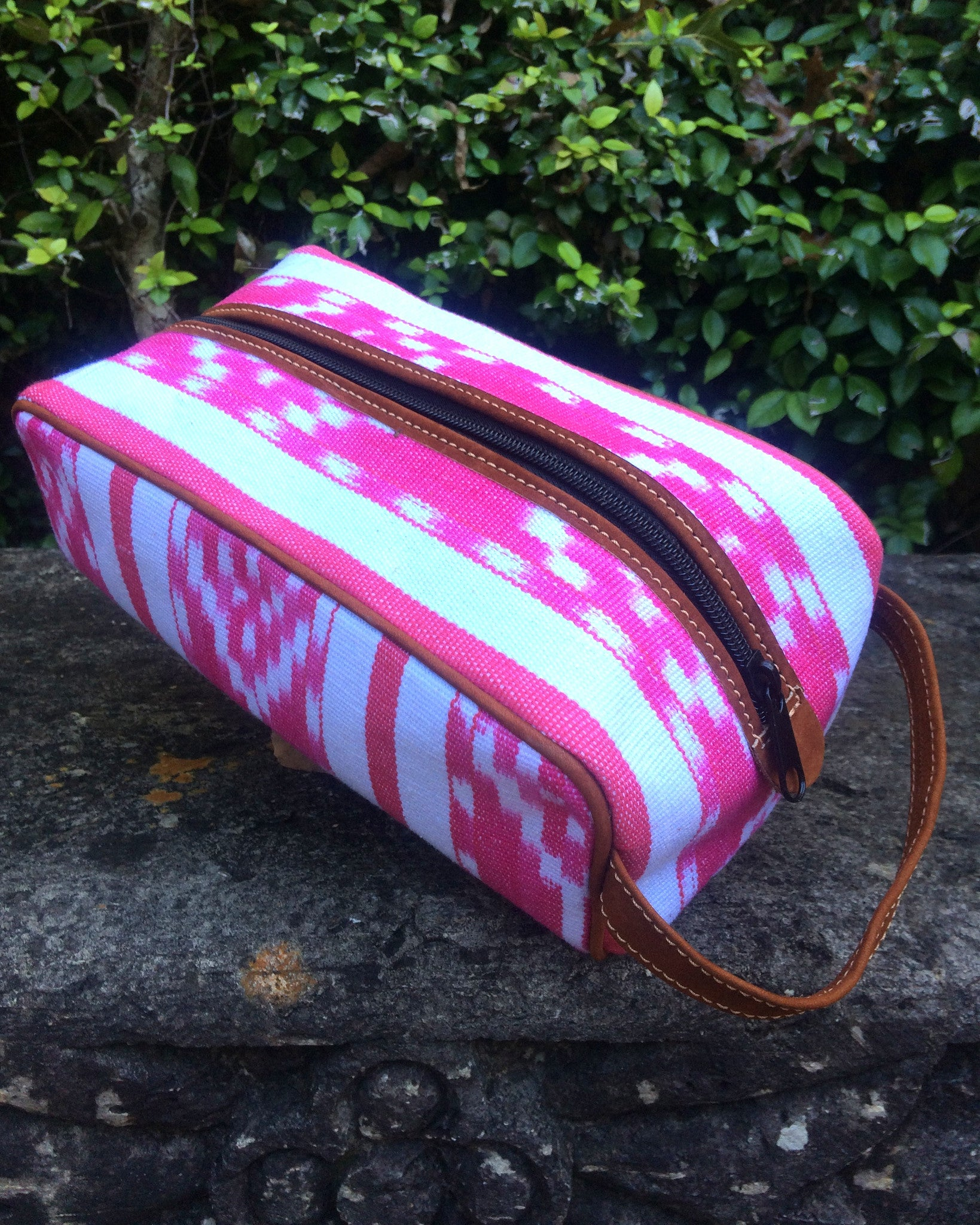 Hot Pink and White Ikat Dopp Kit DK13