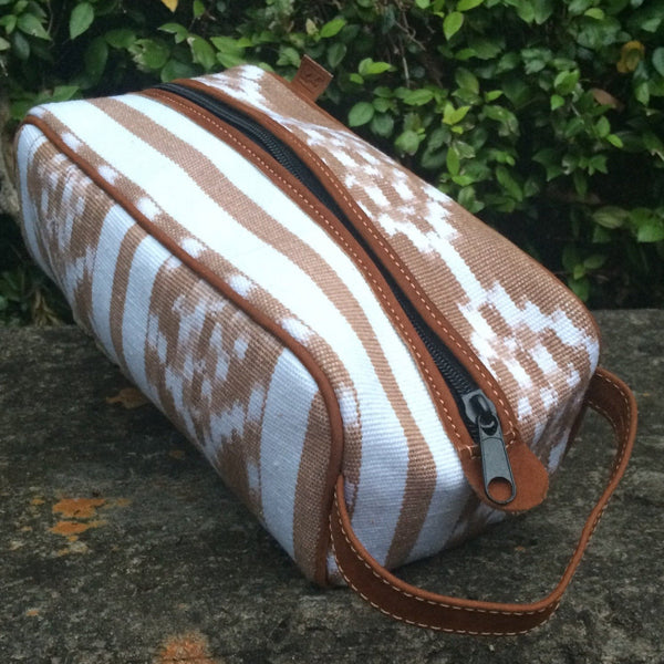 Camel and White Ikat Dopp Kit DK14