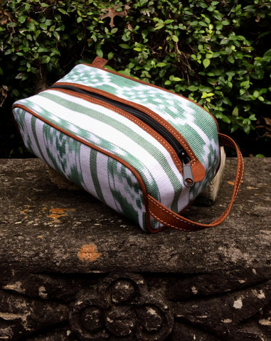Green and White Ikat Dopp Kit DK15