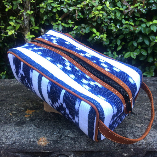 Blue and White Ikat Dopp Kit DK16