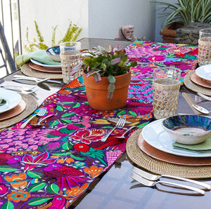 Peacocks Purple Table Runner with Tassels - RBT9