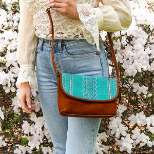 San Marcos Aqua & Brown Suede Crossbody Clutch - PBCG53