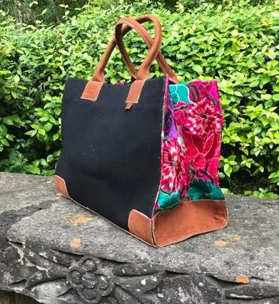 Coban Black Bright Floral Tote TBC103