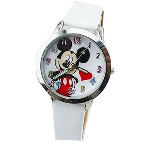 Mickey Mouse w/ Heart Watch with White Leather Bands
