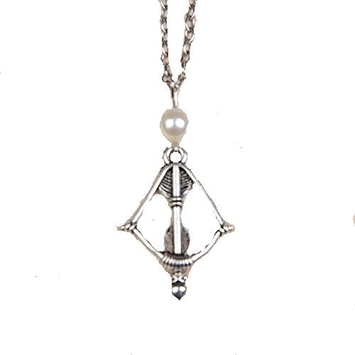 Basket Hill , Katniss Crossbow. Bow and Arrow Silver Tone, Pearl Necklace