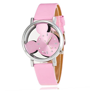Mickey Mouse Pink Sihouette / Cut out on a Girls / Womens Pink Leather Wrist Watch