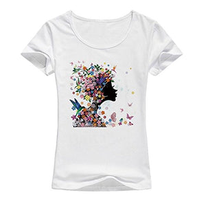 "Dramatic Black Girl or "" Silhouette Girl w/Flowers and ButterfliesWhite T-Shirt ( China Sizing)"