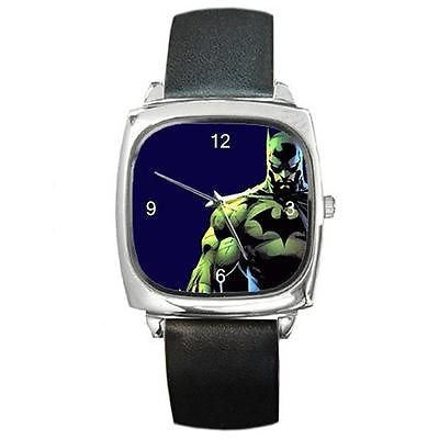 "Batman ""  Caped Crusader""  Square Watch w/ Citizen Works & Leather Band - Basket HIll Watches & Gifts"
