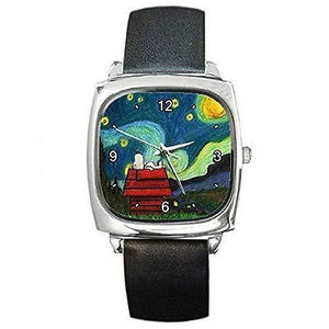"Snoopy on "" Starry Starry Night "" by Van Gogh  Square Watch with Leather Band"