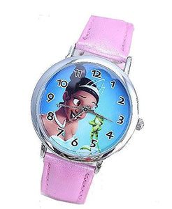 "Disneys Princess and the Frog "" Tiana "" on a Girls Pink Leather Wrist Watch"