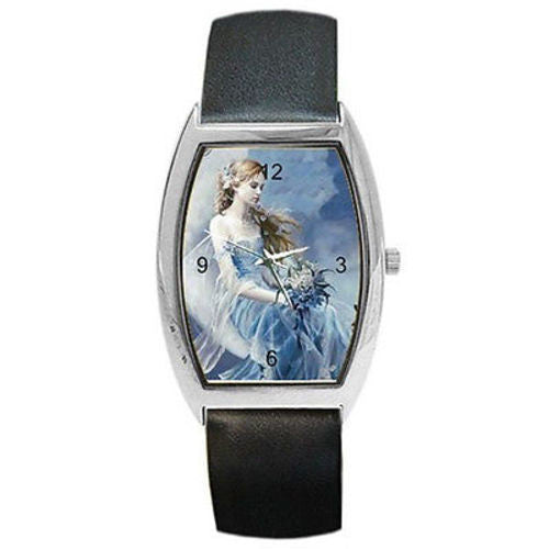 Blue Fairy Lady Sitting on a Womens or Girls Barrel Watch with Leather Bands - Basket HIll Watches & Gifts