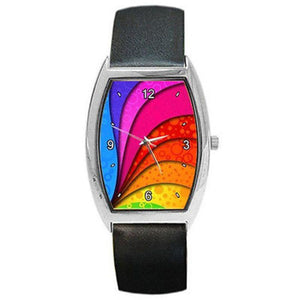 Rainbow Swirl ( Gay) on a Barrel Watch w/ Leather Bands ..Great Gift - Basket HIll Watches & Gifts