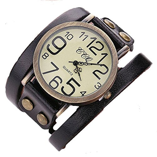 Antique Womens or Mens Black Leather and Gold Bracelet Watch