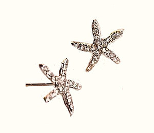 Basket Hill , Gold Tone and Crystal Starfish Post Earrings