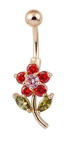 Red Crystal Flower with Green Leaves Belly Ring - Basket HIll Watches & Gifts
