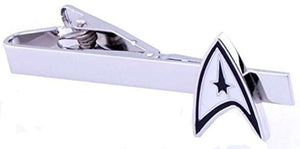 Basket Hill, Star Trek Logo in White, Black and Silver Tone Tie Clip / Tie Bar - Basket HIll Watches & Gifts