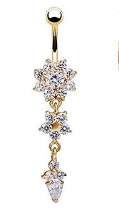 Sparkling Clear Crystal Flower, Star and Diamond Shape Dangle Belly Ring - Basket HIll Watches & Gifts