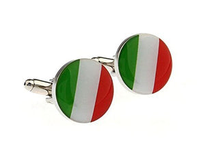 Basket Hill , Round Italian Flag Colors Cufflinks (Green, White , Red) - Basket HIll Watches & Gifts
