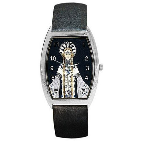 Art Deco Erte Venere in Pellicia on a Womens Barrel Watch with Leather Band - Basket HIll Watches & Gifts