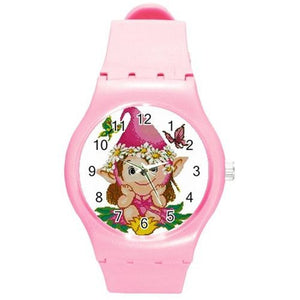 Girls Pink Flower Elf / Fairy Child, on a Girls Bright Pink Plastic Watch & Band - Basket HIll Watches & Gifts