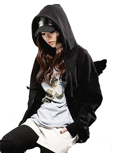 Womens Black or Grey Hoodie with Flapping Angel Wings on Back