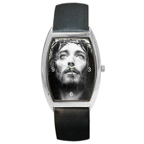 Jesus (Close up) on a Barrel Watch with Leather Band [Watch] - Basket HIll Watches & Gifts