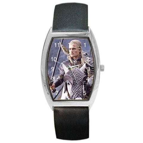 "Orlando Bloom "" Legolas "" Lord of the Rings on a Barrel Watch with Leather Band - Basket HIll Watches & Gifts"