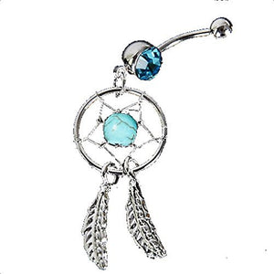 Indian Dream Catcher with Turqoise Colored Stone Belly Ring - Basket HIll Watches & Gifts