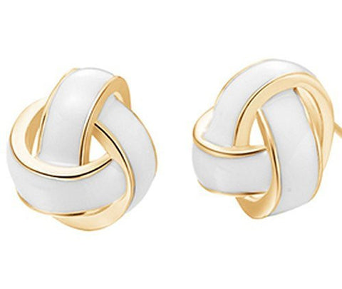 Basket Hill , Classic Gold Tone and White Enamel Knot Post Earrings - Basket HIll Watches & Gifts