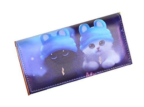 Cats with Blue Hats on a Fold Over Snap Wallet (zipper, Cards, 5 Compartments) - Basket HIll Watches & Gifts