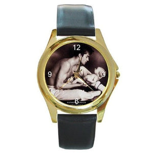 Father and Child (Sepia Look) on a Mens Gold Tone Watch with Leather Band - Basket HIll Watches & Gifts