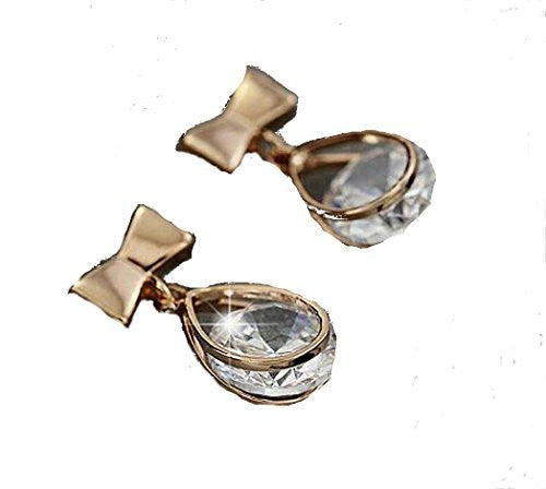Basket Hill Watches and Gifts18k Gold Plated Bow, CZ Small Dangle Post Earrings - Basket HIll Watches & Gifts