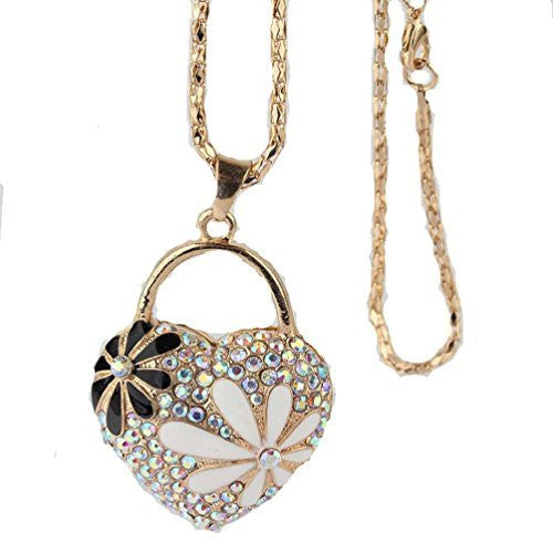 Women's Gold Tone Heart With Crystals And Daisy Necklace ,(Filigree Daisy On Back) - Basket HIll Watches & Gifts