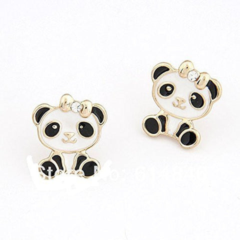 Basket Hill , Panda Bear with Bow on Head Post Earrings - Basket HIll Watches & Gifts