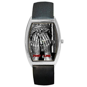 "Dr Who Weeping Angel "" Dont Blink"" on a Mens or Womens Barrel Watch with Leather Band - Basket HIll Watches & Gifts"