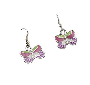 Basket Hill, Girls Butterfly Dangle Earrings ( Pink , Silver Tone) - Basket HIll Watches & Gifts