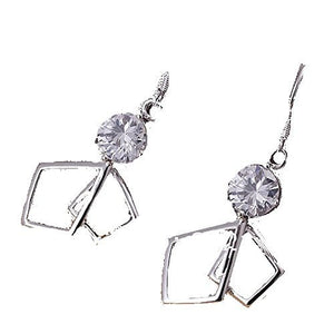 Basket Hill , 925 Silver 2 Diamond Shaped and Crystal Earrings - Basket HIll Watches & Gifts