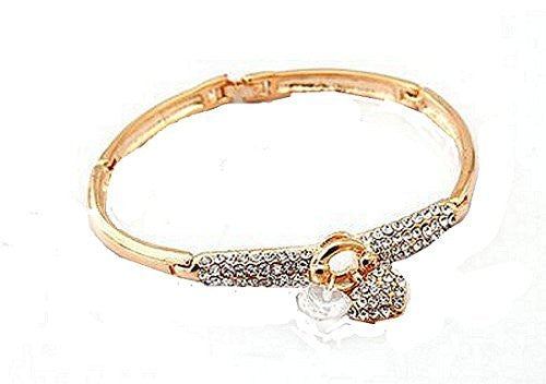 Basket Hill Silver Plated or Gold Plated ,Zircon and Two (2) Heart Bangle Bracelet - Basket HIll Watches & Gifts