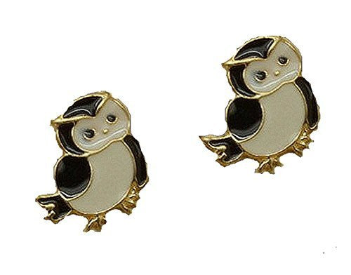 Basket Hill , Owl with Black ,White and Gold Tone Post Earrings - Basket HIll Watches & Gifts