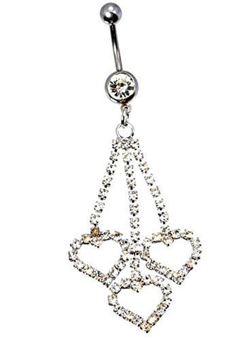 New 16 GA 10mm 3 Heart Rhinestone Dangle Barbell 316L 5mm 8mm Balls Belly Button Naval Ring 682 - Basket HIll Watches & Gifts